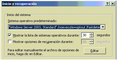 Editando boot ini en Windows Server 2003