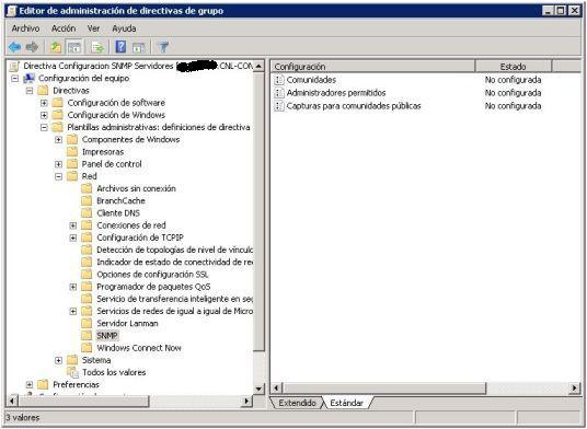 Configuracion parametros SNMP con GPO