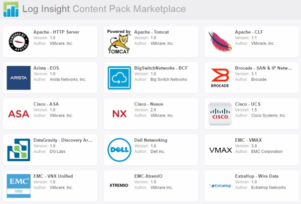 Log Insight Content Packs