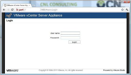 Ventana Login VMware vCenter Server Appliance 5