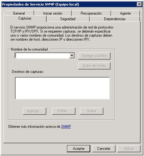 Propiedades servicio SNMP Windows Server 2008 R2