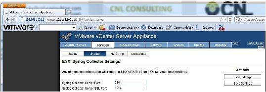 Puertos SysLog en vCenter Server Appliance