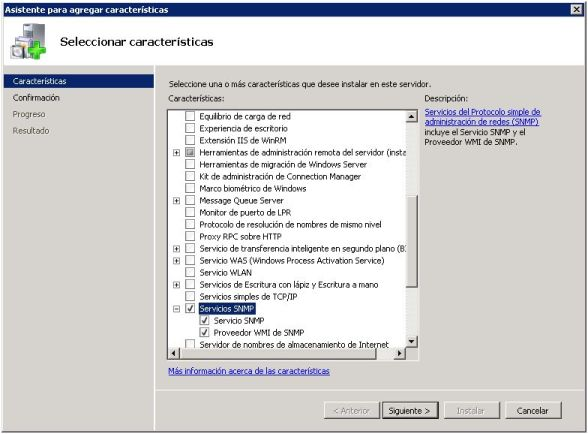 Añadir servicio SNMP en Windows Server 2008 R2