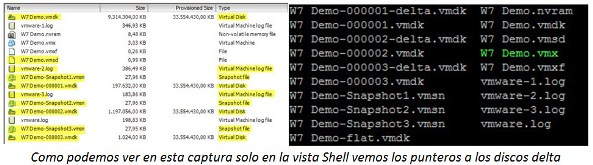 VMware Snapshots ficheros documentos