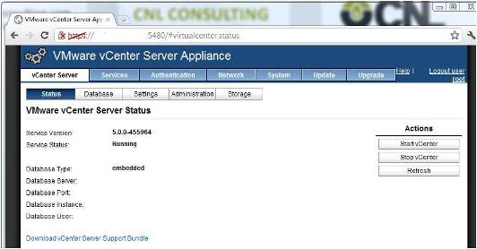 VMware vCenter Server Appliance 5 Web Interface